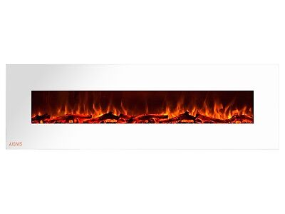 Ignis Royal White 72 inch Wall / Recessed Mount Electric Fireplace with Logs