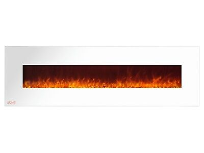 Ignis Royal White 72 inch Wall / Recessed Mount Electric Fireplace with Crystals
