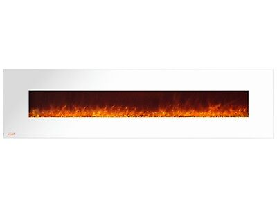 Ignis Royal White 95 inch Wall / Recessed Mount Electric Fireplace with Crystals