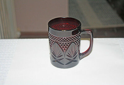 Set of Four Cris d'Arques / Durand Antique Ruby Glass Mugs 3 7/8 Inches