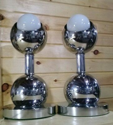 Vintage Atomic Retro Chrome Lamps MCM Matching Pair Table Lights
