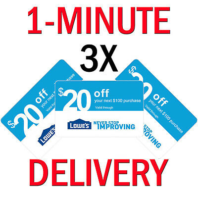 3ⅹ Lowes $20 off $100 Ӧnline & Ín-Store Рurchases | Exp 1/31 | Ĩnstant Ðelivery