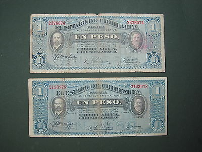 MEXICO CHIHUAHUA 1 PESO 1915 #O LOT of 2 MEXICAN REVOLUTION PAPER MONEY BANKNOTE