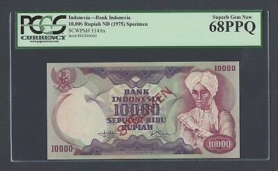 Indonesia 10000 Rupiah ND(1975) P114As Specimen Uncirculated