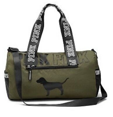 Victorias Secret Pink Varsity Mini Duffle Bag Green  Sold Out Dog Logo