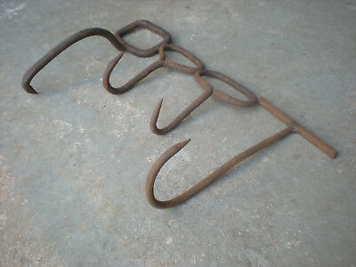 4 Antique Hand Forged Iron Hay/Logging Hooks - Rustic Barn Tools Wall Hooks