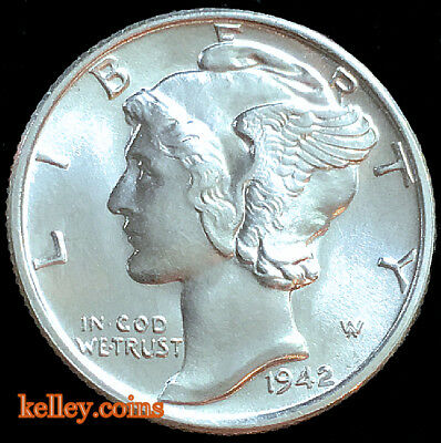 "1942 Winged Liberty Head ""Mercury Dime"" CHoice BU"
