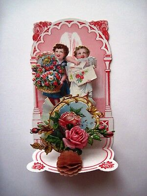Vintage Small 1920s  Antique Valentine Card w/ Die Cut of Girl Holding Letters *