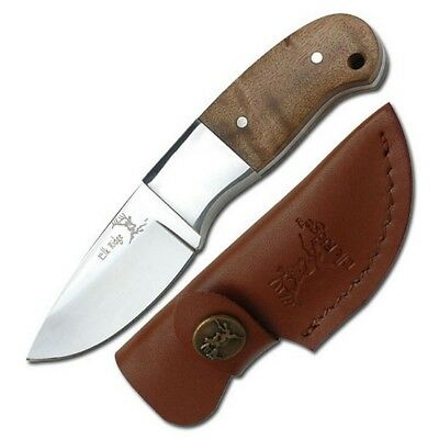 "Elk Ridge 111 Fixed 5"" Knife Burl Wood Handle & Sheath"