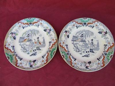 Very Fine Pair  Petrus Regout Maastricht Holland Timor Polychrome 8 1/4 Plates