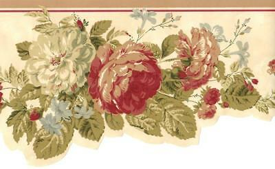 Cottage Rose Flower Wallpaper Border Classic Floral Victorian French Wall Decor