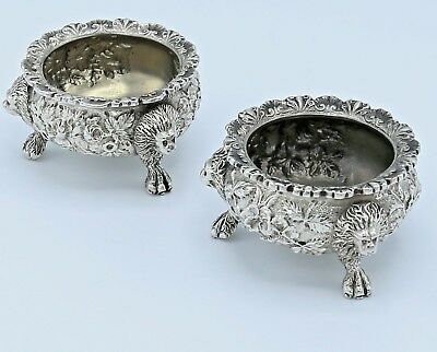 LION HEADS Pair of KIRK REPOUSSE Sterling  OPEN SALTS 6 oz