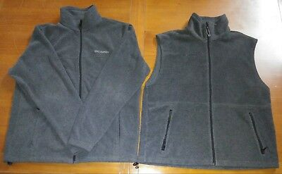Mens Lot COLUMBIA Fleece Jacket and Vest Size Large Gray Excellent Conditon