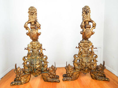Large Pair of Antique Cast Brass Renaissance Revival Decorative Chenets Andirons