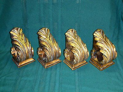 Lot of 4 Ornate Resin Drapery Wall Sconces Corbel Curtain Rod Scarf Swag Holders
