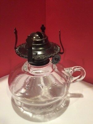 Vintage Eagle Finger Lamp Oil Kerosene Lantern  Burner Clear Glass  USA