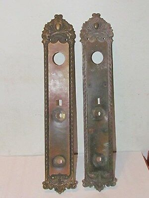 "Vintage Set Of 17 1/2"" Solid Brass Door Handle Back Plates..."