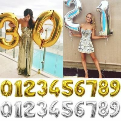 "40""Gold/Silver Large Foil Letter Number Balloons Birthday Wedding Party Decor CA"