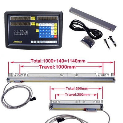 2 Axis DRO For Milling Lathe Machine & 2 Linear Scales Digital Display Meter FS