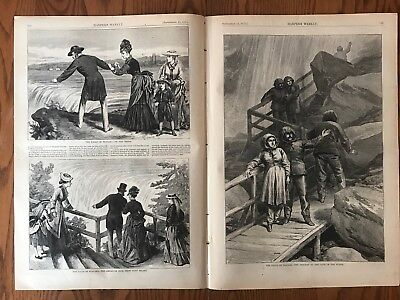Views Of Niagara Falls. Huge Double Page Antique Wood Engraving, 1875.