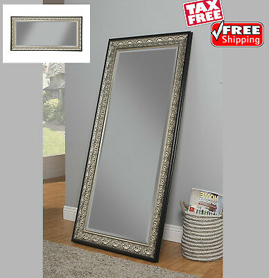 Decorative Full Length Mirror Leaner Wall Mounted Beveled Glass Antique Silver