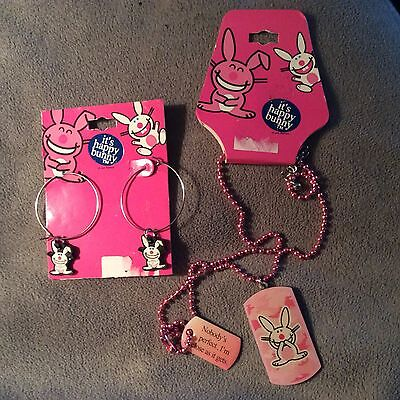 Jim Benton's Happy Bunny earrings and necklace set New