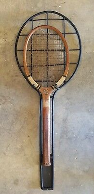 Vintage Wrought Iron Wall Mounted Tennis Racket Racquet Holder Old Wooden Tennis