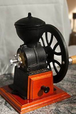 Hand Crank Wheel Manual Cast Iron Coffee Bean Grinder Mill Antique Vintage Burr