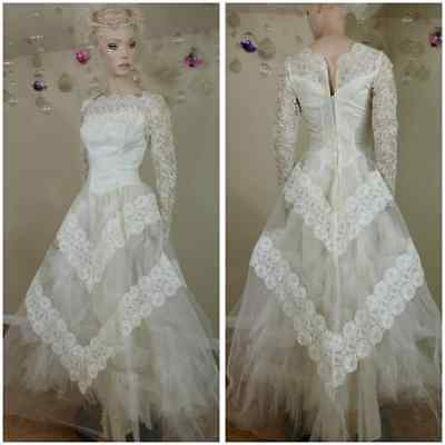 Vintage 50's handmade ivory wedding gown tulle and lace wedding dress