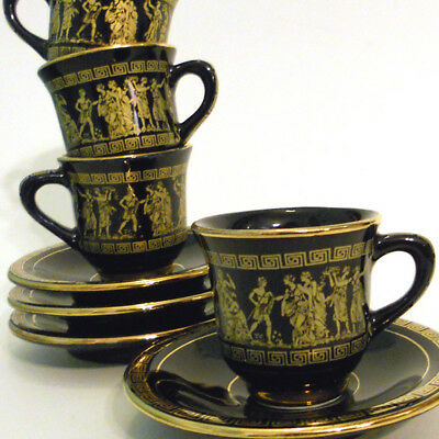 24K Gold Hand Painted Greek Demitasse Espresso Set