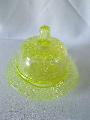 Vaseline Glass-Covered Butter Dish-Pressed-Old-EUC-Daisy and Button