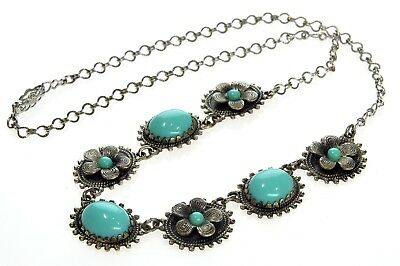Vtg Art Deco Czech Turquoise Glass Filigree Silver Metal Necklace