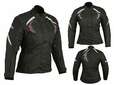 Women Motorcycle Motorbike Textile Cordura Armoured Waterproof Jacket