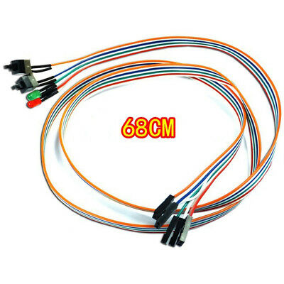 ATX PC Compute Motherboard Power Cable 2 Switch On/Off/Reset With LED Light 68CM