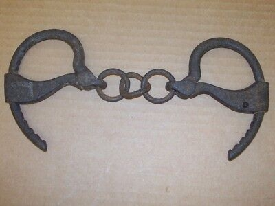 Vintage Antique Cast Iron Hand Cuffs Hand Forged. No Key As Is Not Working NR