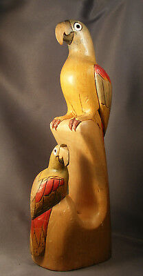 """Vtg Parrots Figurine Carved & Painted Light-Weight Wood 12"""" Tall"""
