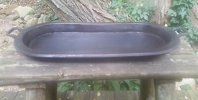 Antique Cast Iron Game Griddle Fish Pan Huntsman Gate Mark oval 4 small feet