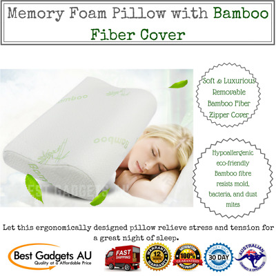 Memory Foam Pillow with Bamboo Fabric Fiber Cover Anti-bacterial Cool Support