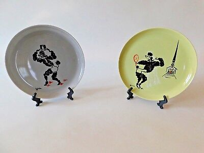 """MCM Vtg Painted Poodles Dogs Wedding American Decorative Plates 10"""" Signed Rare"""