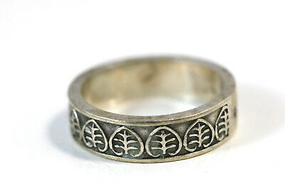 "D408 Christofle France Leaves Band 1/4"" wide Sterling 925 Ring Size 7 3/4"