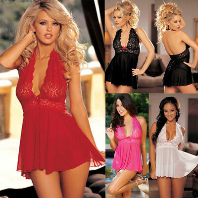 Womens Sexy/Sissy Lingerie Lace Babydoll G-String Thong Underwear Nightwear Top