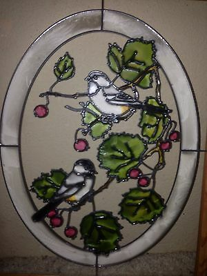 "17"" x 13"" Stained Glass Painted Window ""Chickadee on Birch Branch"" bird Sparrow"