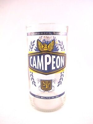 YAVA Glass - Upcycled RARE Vintage Collectible CAMPEON Beer Bottle Glass