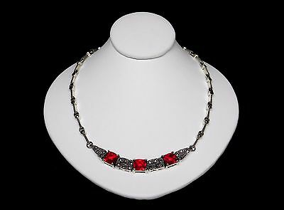 """Antique Art Deco Marcasite Red Ruby Glass Sterling Silver Necklace 19"""""""