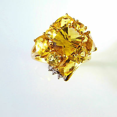 SPARKLE Heliodor Yellow Emerald Beryl Diamond 10K Ring Cluster Engagement Unique