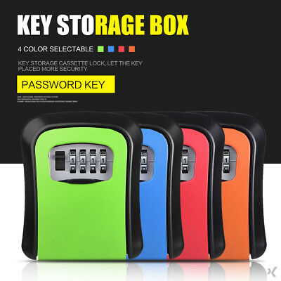 Durable Store Lock Convenient Wall Mounted Lock Box Metal 4 Password Office
