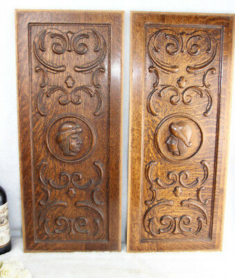 PAIR 50's  breton wood carved French cabinet panels man and lady folkloric