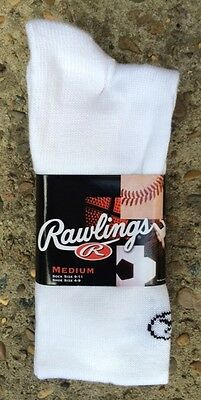 Rawlings Baseball Sock - White - Adult Size Medium - Pack of 9 pairs