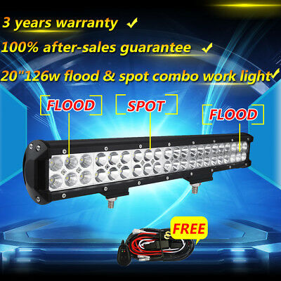20INCH 126W CREE Led Light Bar Flood Spot Combo Driving Offroad 4WD Truck ATV 22