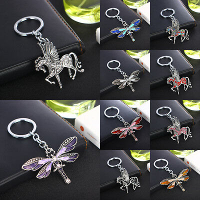 Shiny Crystal Running Horse Keyring Keychain Dragonfly Flying Wing Jewelry Gift